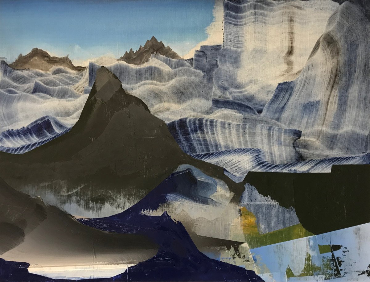 "This is an oil painting titled, ""Black Glacier"" It was painted in 2017"