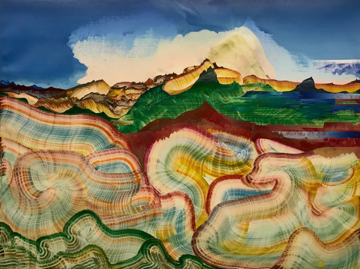 """This is an oil painting titled, """"Ecstatic Geology"""" It was painted in 2018"""